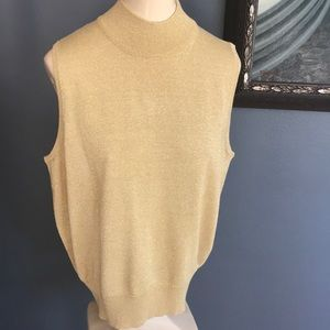 Casual Corner gold sparkle sleeveless turtleneck
